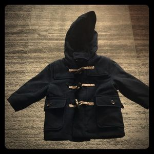 GAP baby boy navy hooded pea coat size 12-18months